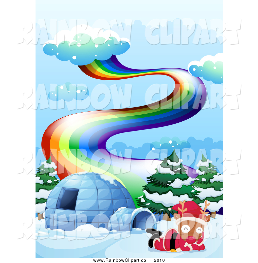hight resolution of 1024x1044 vector clip art of a reindeer wearing a santa suit by an igloo