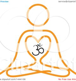 1080x1024 clipart of a simple orange meditating person and om symbol [ 1080 x 1024 Pixel ]