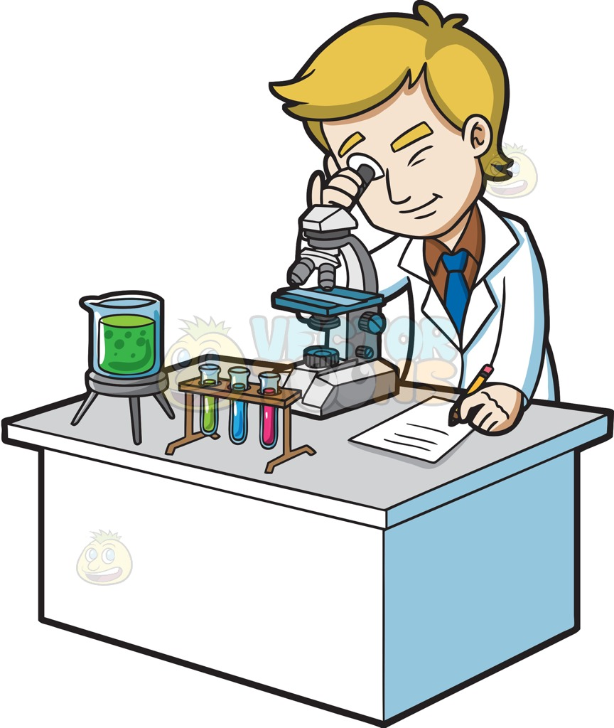 hight resolution of 864x1024 a scientist looking under a microscope cartoon clipart vector toons