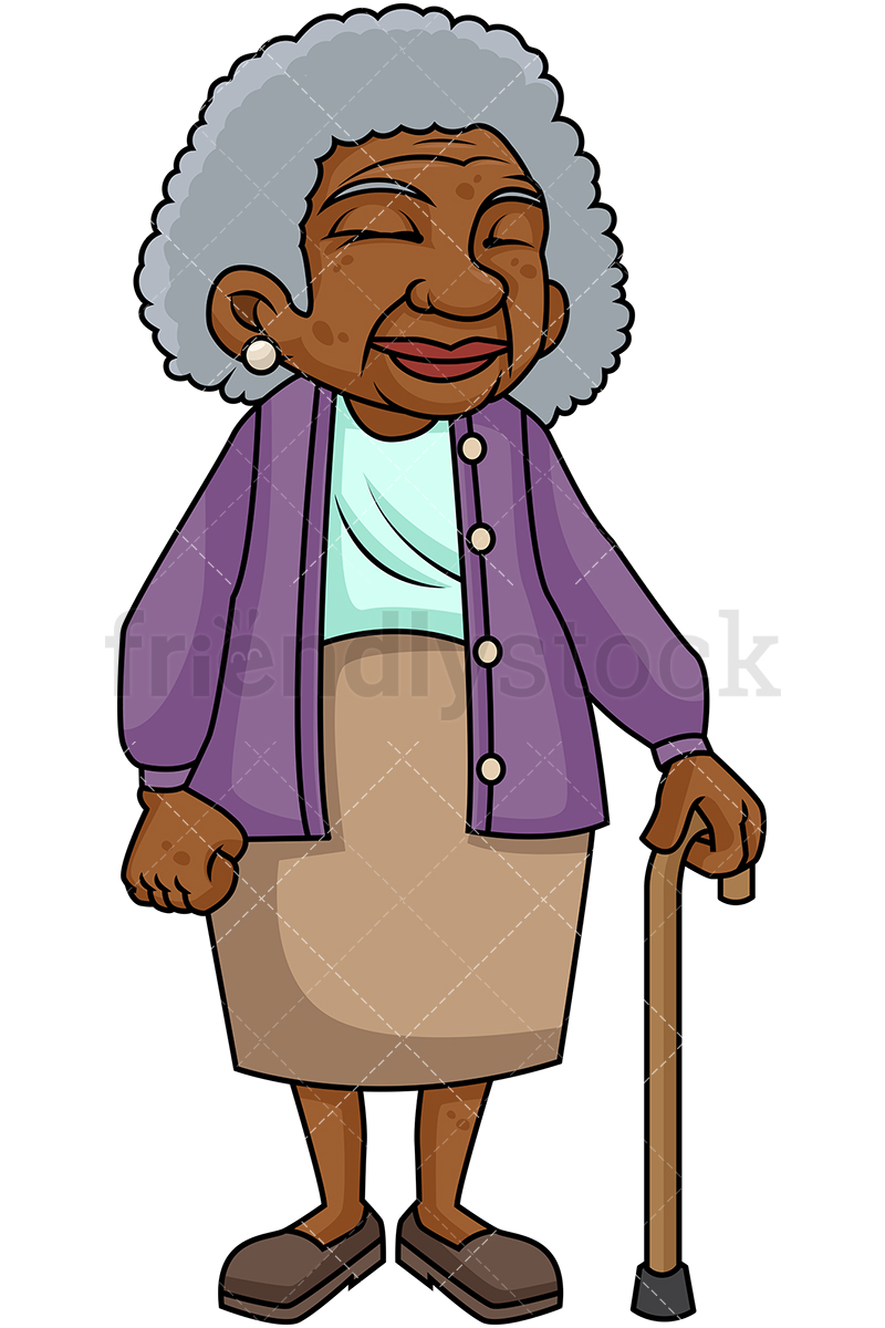 hight resolution of 800x1200 black old woman with walking stick cartoon vector clipart