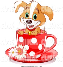1024x1044 clip art of a happy adorable puppy dog in a red polka dotted tea [ 1024 x 1044 Pixel ]