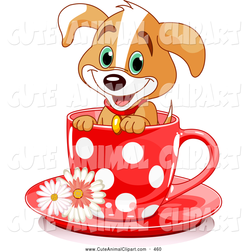 hight resolution of 1024x1044 clip art of a happy adorable puppy dog in a red polka dotted tea