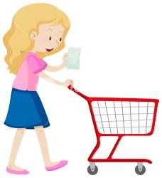 shopping cart clipart pushing woman getdrawings