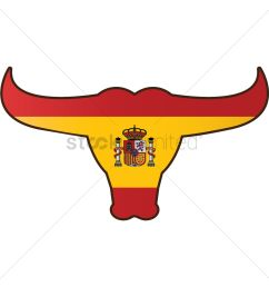 1300x1300 bull with spain flag vector image [ 1300 x 1300 Pixel ]