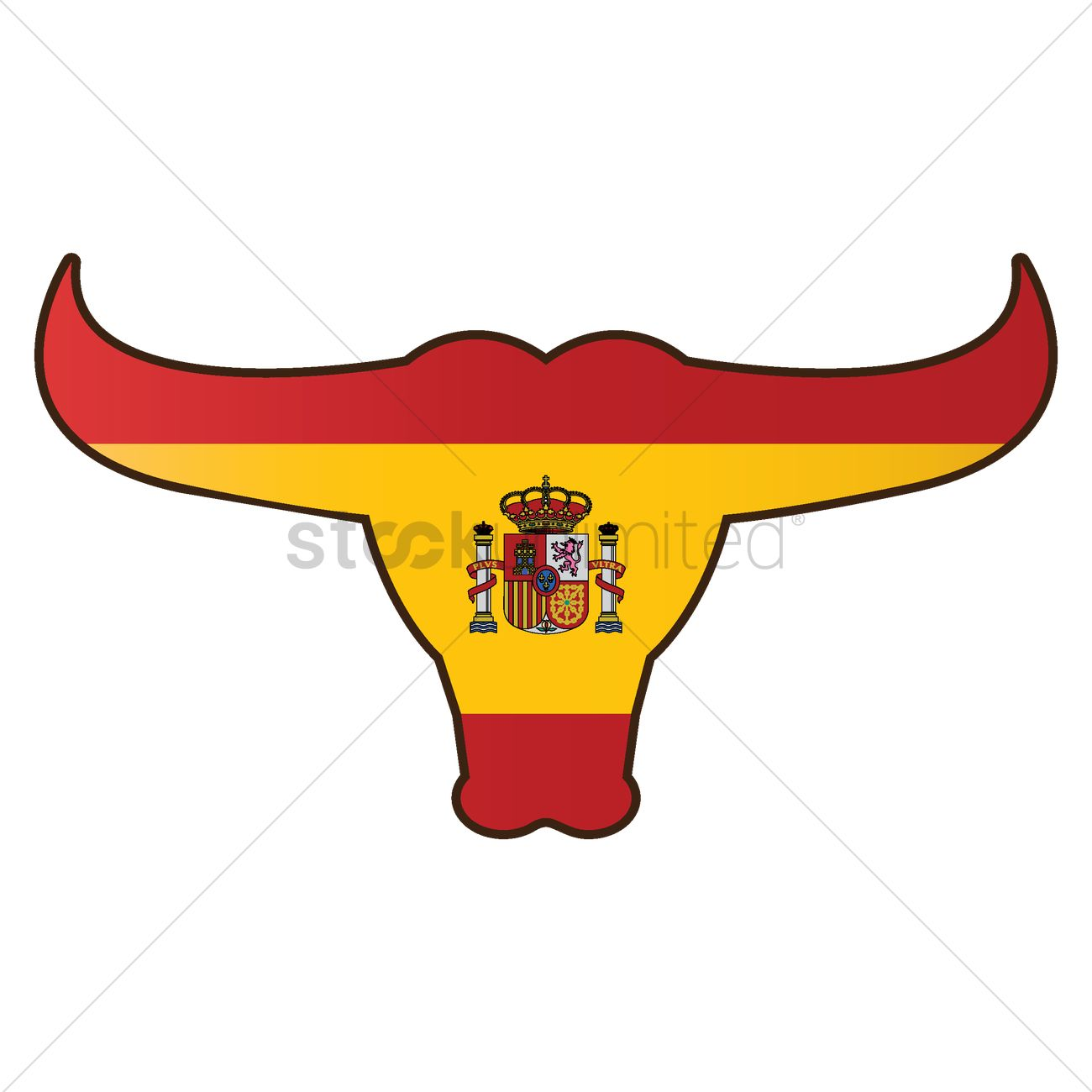 hight resolution of 1300x1300 bull with spain flag vector image
