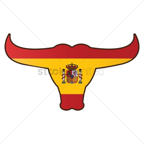 small resolution of 1300x1300 bull with spain flag vector image