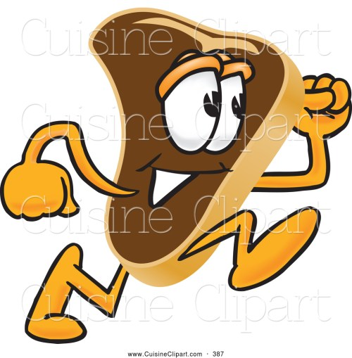 small resolution of 1024x1044 cuisine clipart of a beef steak mascot running by toons4biz