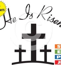 1000x795 he is risen with 3 crosses clip art image [ 1000 x 795 Pixel ]