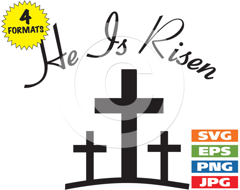medium resolution of 1000x795 he is risen with 3 crosses clip art image