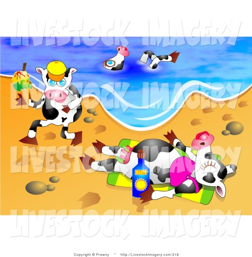 small resolution of 1024x1044 clip art of a trio of dairy cows on vacation swimming running