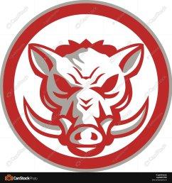 1600x1700 wild boar razorback head angry circle retro illustration [ 1600 x 1700 Pixel ]