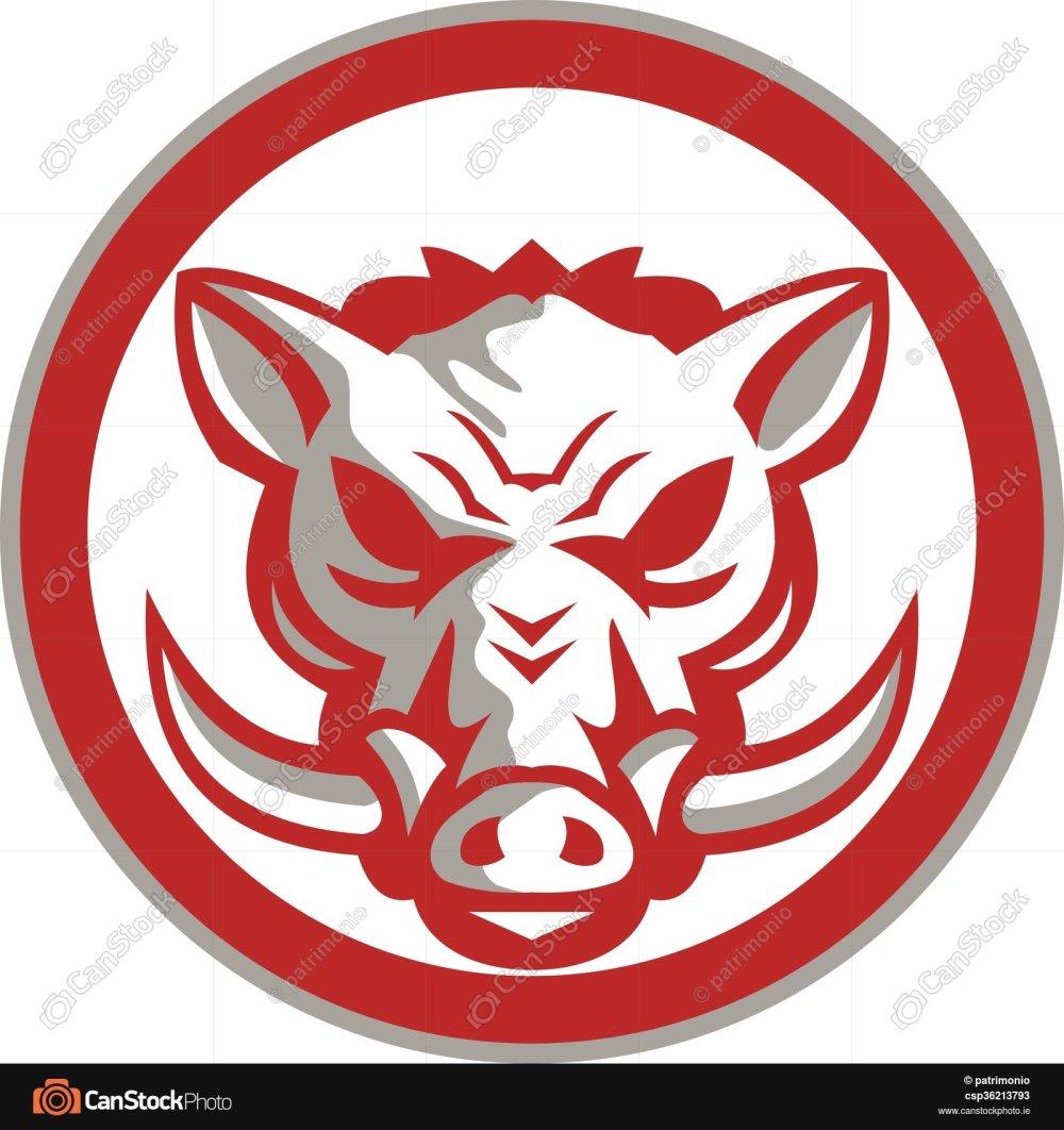 medium resolution of 1600x1700 wild boar razorback head angry circle retro illustration