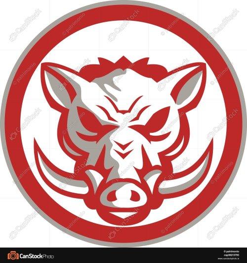 small resolution of 1600x1700 wild boar razorback head angry circle retro illustration