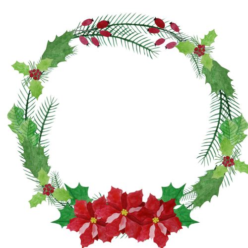 small resolution of 1800x1800 watercolor wreath clipart poinsettia wreath christmas wreath
