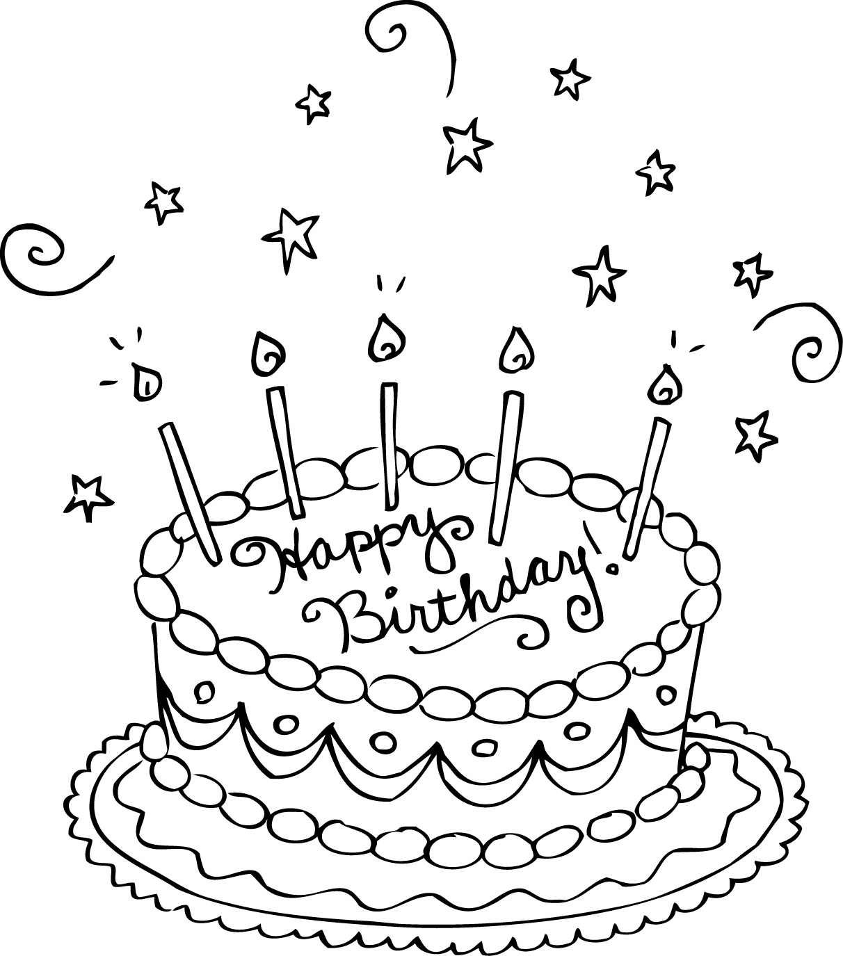 Birthday Cake Coloring Pages Preschool At Getdrawings