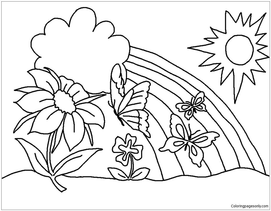 Butterfly Flower Coloring Pages At Getdrawings