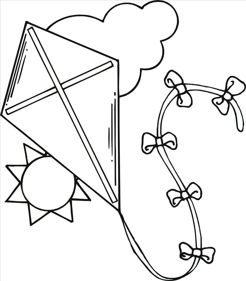 Children Flying Kites Coloring Pages At Getdrawings