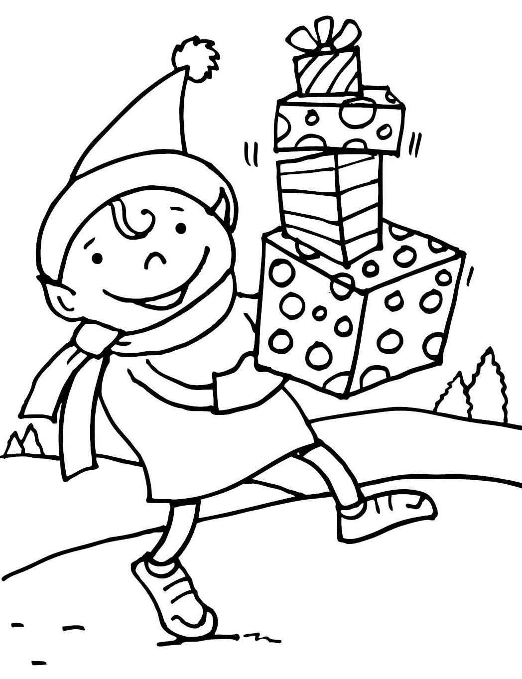 Christmas Elf Coloring Pages Printable At Getdrawings