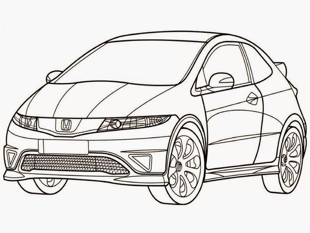 Coloring and Drawing: Super Car Honda Civic Coloring Page