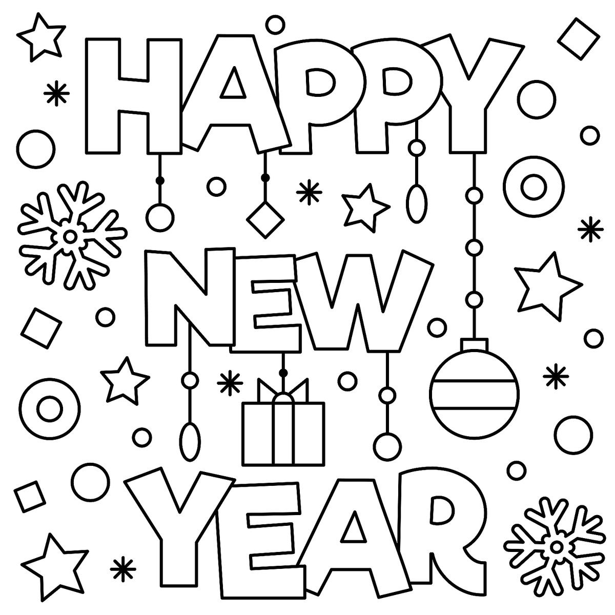 New Year Coloring Pages For Kids At Getdrawings
