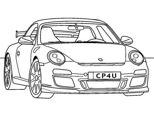 Ausmalbilder Porsche Carrera