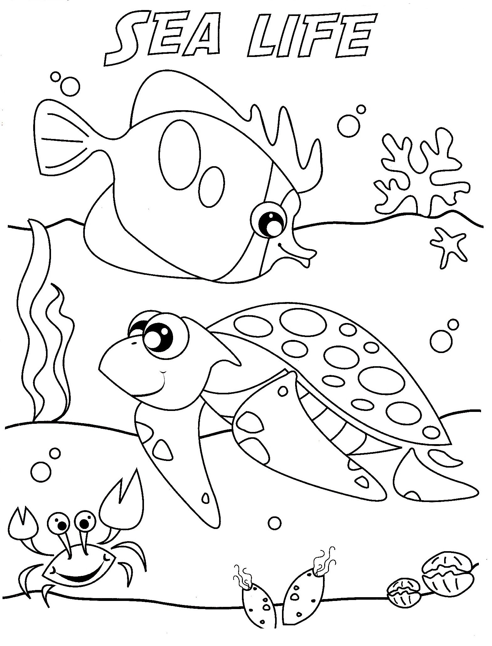 Sea Animals Coloring Pages For Kids At Getdrawings