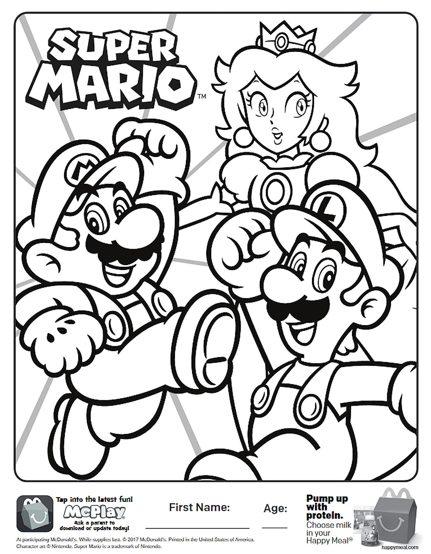super paper mario coloring