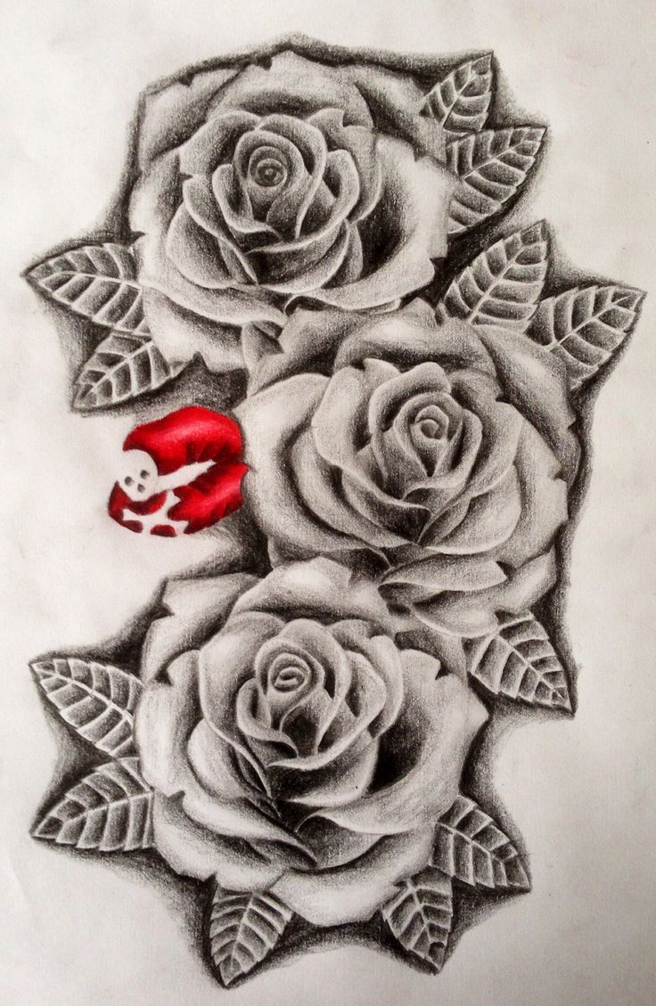 Realistic Rose Tattoo Drawings