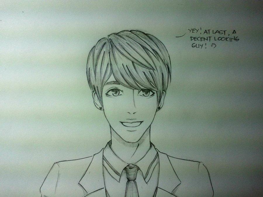 anime guy drawing at