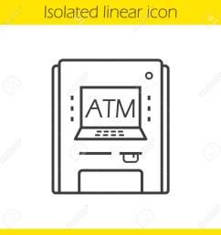 1300x1300 atm machine linear icon thin line illustration contour symbol [ 1300 x 1300 Pixel ]