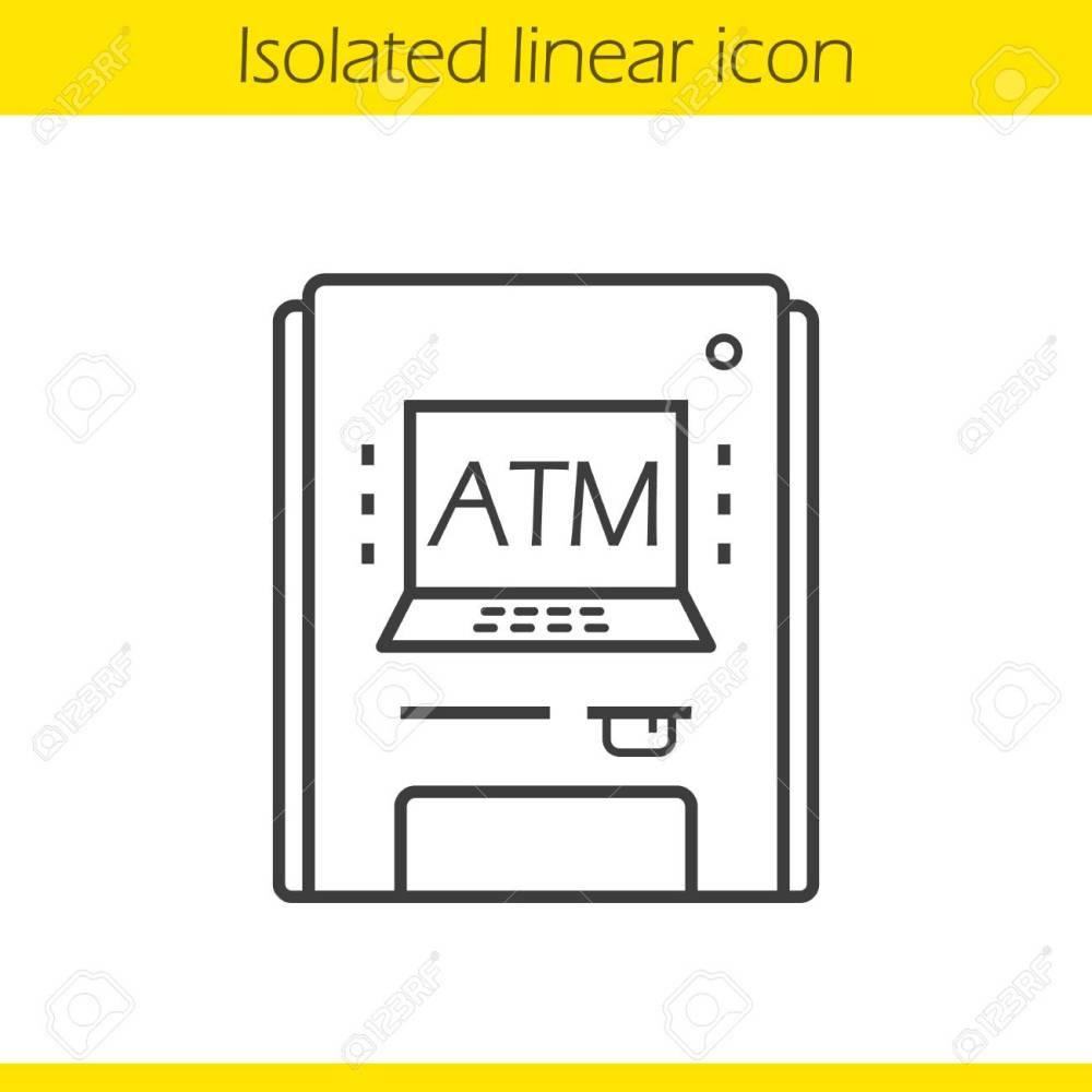 medium resolution of 1300x1300 atm machine linear icon thin line illustration contour symbol