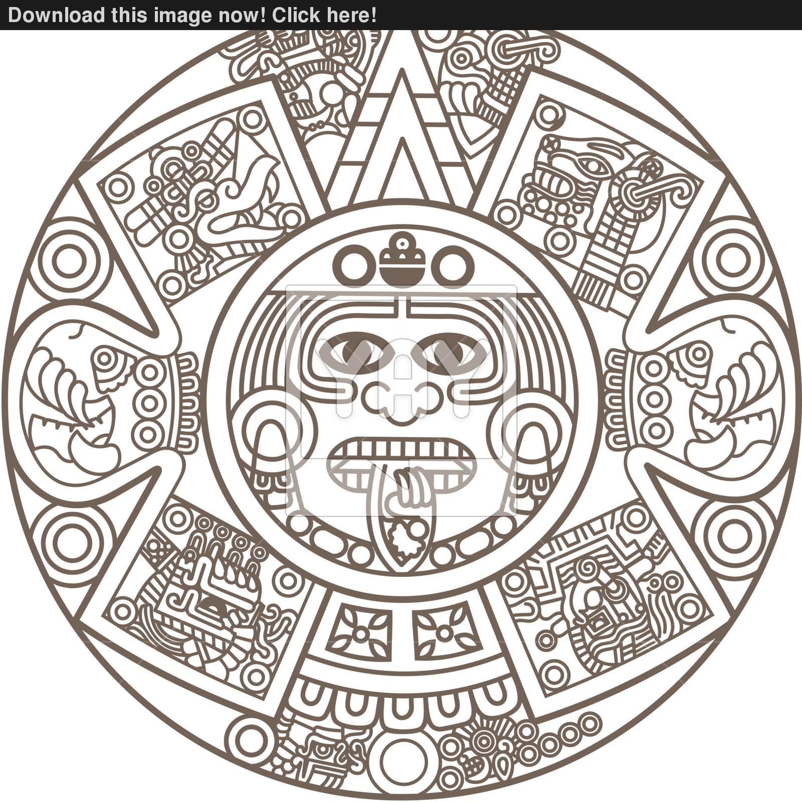 Aztec Calendar Drawing At Getdrawings