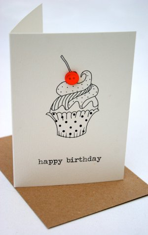 birthday card happy cards drawings drawing cupcakes cupcake box greeting greetings button simple handmade pencil sketch hummingbirdcards getdrawings diy alles