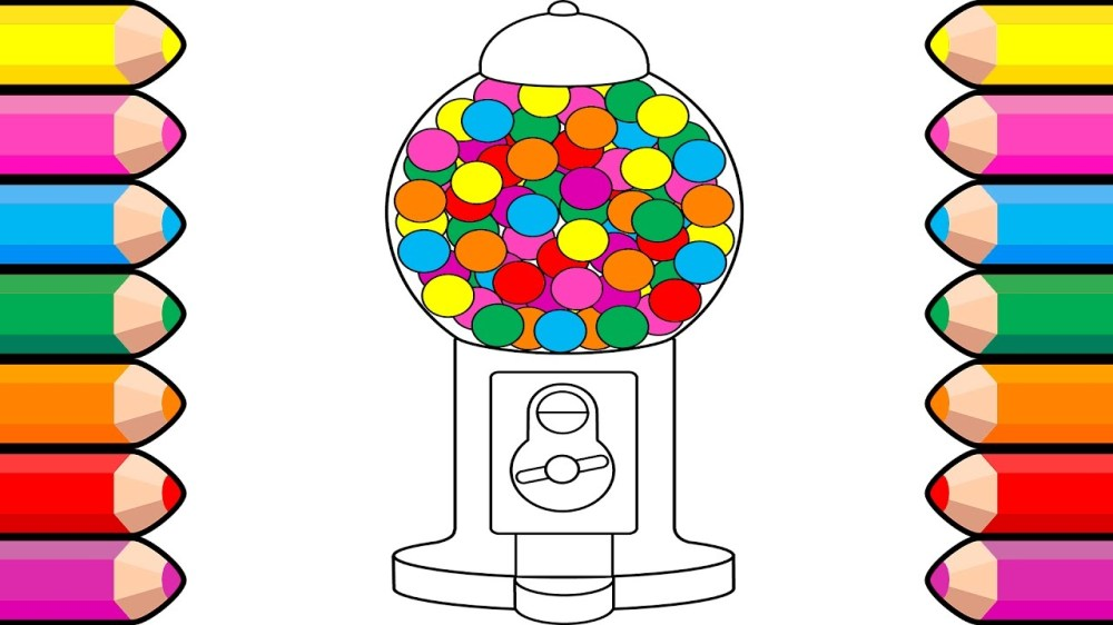 medium resolution of 1280x720 bubble gum coloring book drawing gumball machines art colors