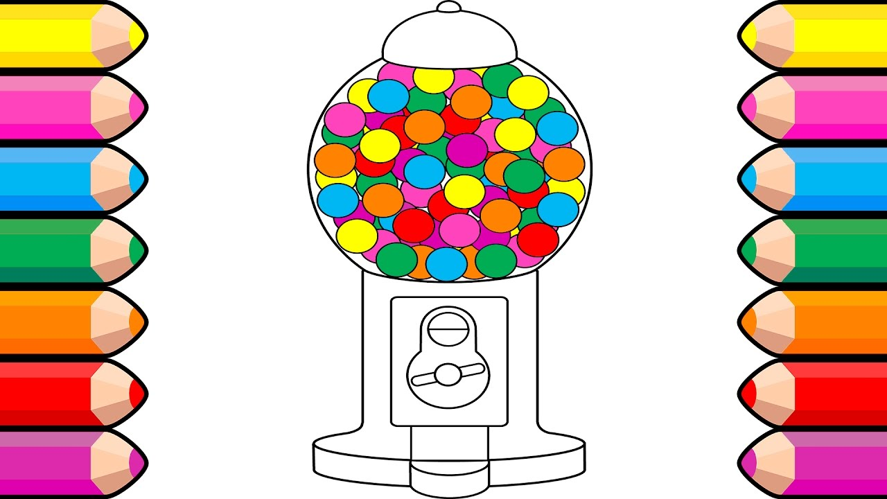 hight resolution of 1280x720 bubble gum coloring book drawing gumball machines art colors