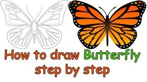 butterfly easy drawing simple sketch draw way drawings step getdrawings sketches paintingvalley