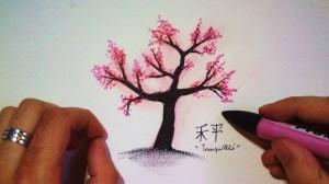 dessin cerisier japonais tree cherry fleur fleurs arbre blossom drawing dessiner draw japanese comment easy tuto japon facile japonaise sakura