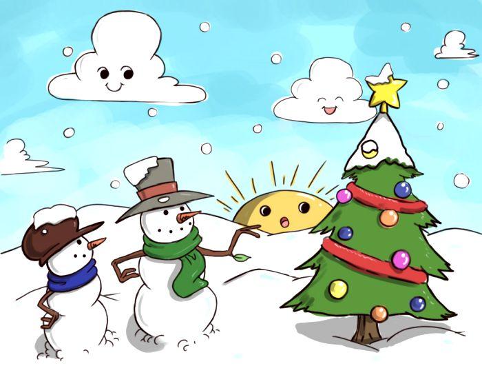 christmas scenery drawing at