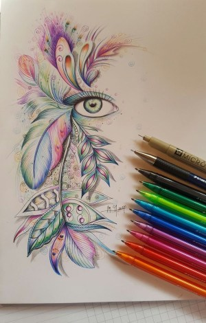 drawing colorful drawings pen pencil sketches sketch feather pens zentangle simple zeichnen inspiration doodle eye martina arend ball point mandala