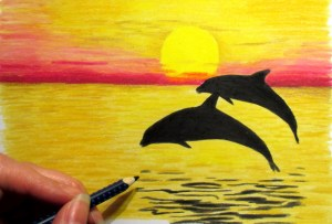 pencil sunset drawing simple sketch landscape easy drawings colour coloured beginners colored painting nature paintings getdrawings paintingvalley sketches colorful watercolor