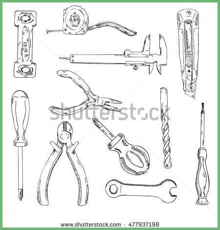 construction tools drawing at