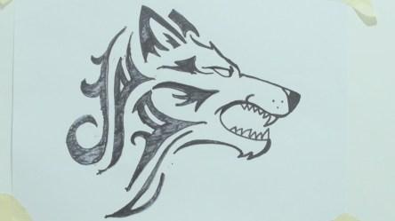 wolf draw head tattoo tribal drawing cool wolves رسم simple howling ذئب drawings easy tattoos cute pencil cartoon designs getdrawings