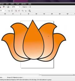 1364x728 corel draw how to draw bjp lotus very simple by ganesh jamkar [ 1364 x 728 Pixel ]