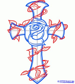cross rose draw step tattoo drawing crosses graffiti drawings easy roses heart dragoart tattoos vine vines angel steps sketch getdrawings
