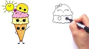 ice cream cone cartoon drawing draw easy getdrawings kawaii coloring scoop dessert adorable