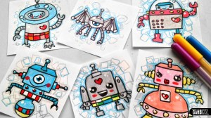 robot robots draw drawing easy drawings kawaii sketches getdrawings garbi kw
