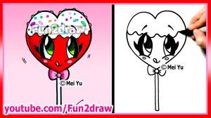 draw drawing valentines easy heart drawings lollipop cartoon fun stuff candy kawaii things fun2draw cartoons beginners wallpapers getdrawings sketches funny