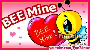 valentines draw cartoon bee heart fun2draw drawing channel