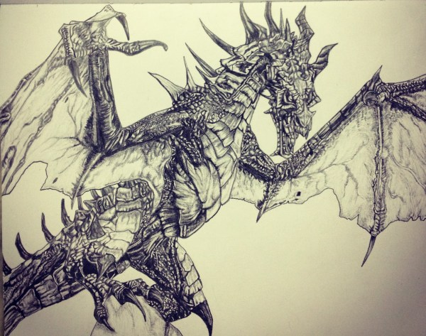 Skyrim Dragon Drawing Pencil