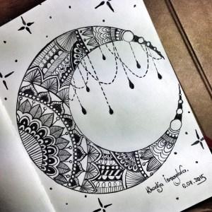 drawing moon easy heart getdrawings